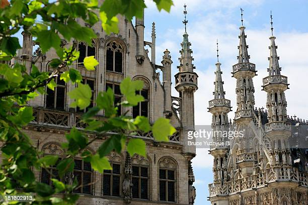 towers of town hall - leuven stock pictures, royalty-free photos & images