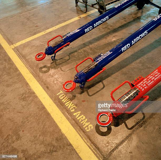 Towing bars on the ground in the hangar of the Red Arrows Britain's RAF aerobatic team Seen from above in the hangar at RAF Scampton the team's base...