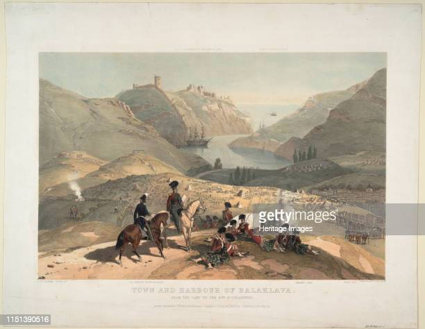 Town and harbour of Balaklava from the camp of the 93rd Highlanders 1854 From a private collection Artist O'Reilly Montagu Lt British Army