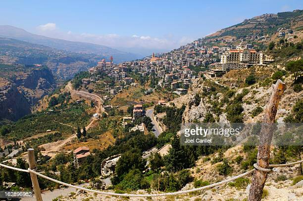 town and landscape in bcharre, lebanon - lebanon stock photos and pictures