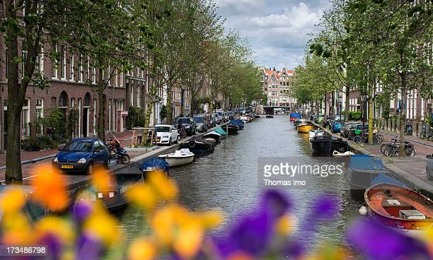 Town canal on June 23 2013 in Amsterdam Netherland