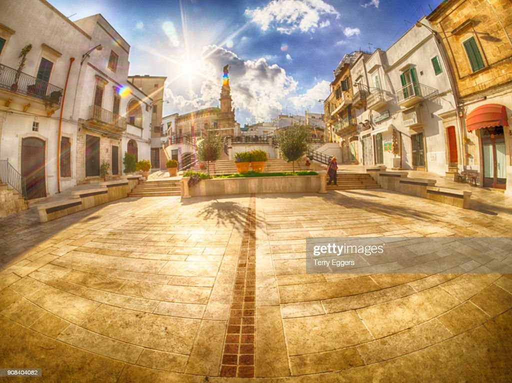 Town center with steps leading to the Column of Saint Oronzo : Stock Photo