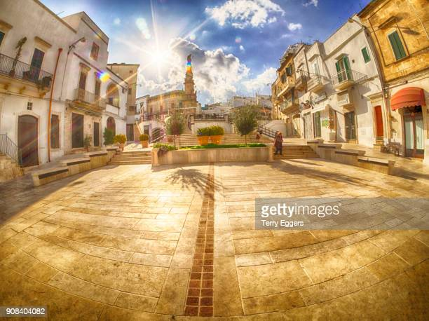 Town center with steps leading to the Column of Saint Oronzo