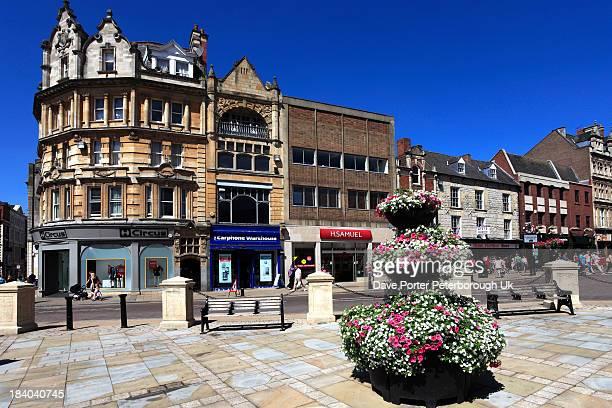 town centre street view, northampton town - northampton imagens e fotografias de stock
