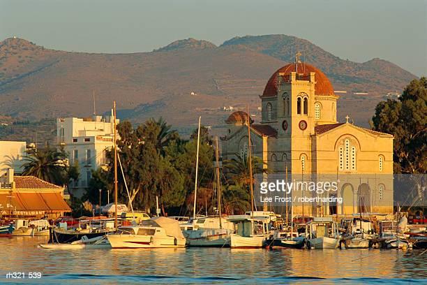 Town church and waterfront, Aegina, Argo-Saronic Islands, Greece