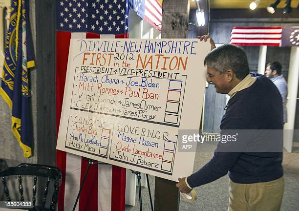 A town clerk makes final adjustments to the voting station on November 5 2012 in Dixville Notch New hampshire where the first voting in the 2012 US...