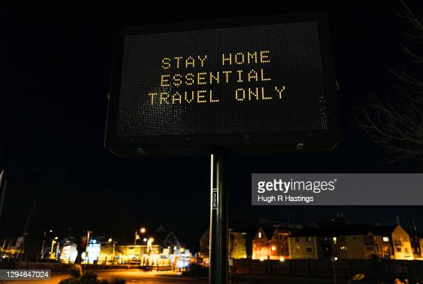 Town council signage advises people of the lockdown on January 5, 2021 in Falmouth, United Kingdom. The British Prime Minister made a national...