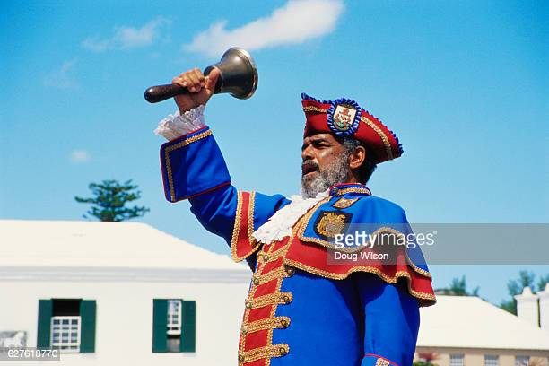 town crier giving announcements - bell stock pictures, royalty-free photos & images