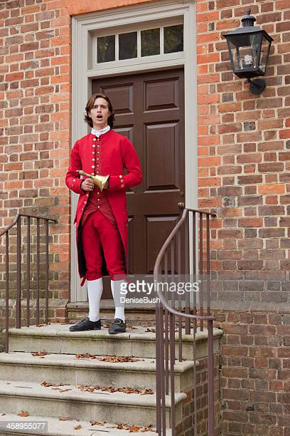 town crier, williamsburg, va - colonial america stock photos and pictures
