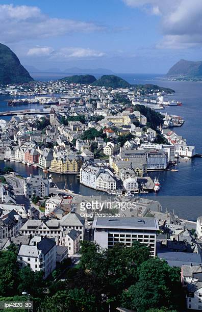 Town from Kniven overlook on Aksla hill, Alesund, Norway