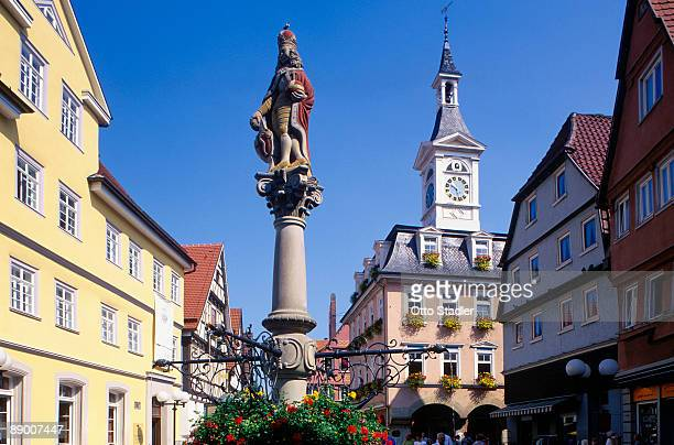 town hall and tower - baden württemberg stock pictures, royalty-free photos & images