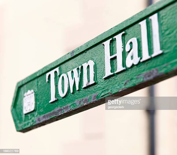 town hall arrow sign - town hall stock pictures, royalty-free photos & images