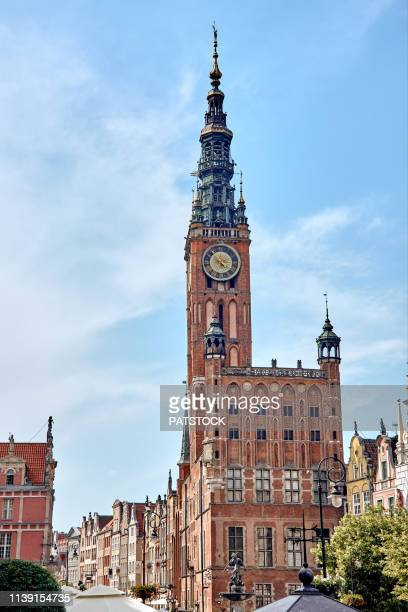 town hall at long market in gdansk - pomorskie province stock photos and pictures