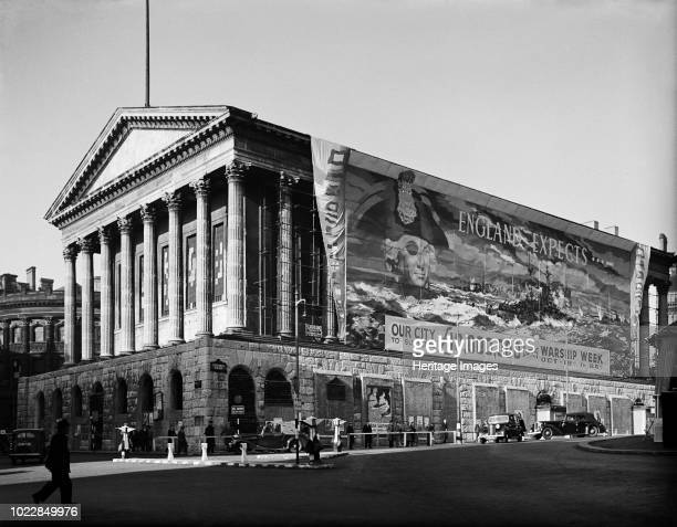 Town Hall, Birmingham, West Midlands, 1941. View of the Town Hall with a banner covering one side, promoting Warship Week, October 18-26, which...
