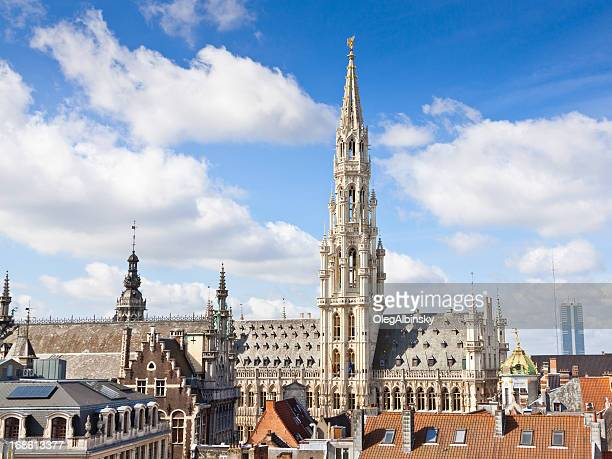 town hall (hotel de ville), brussels. - brussels capital region stock pictures, royalty-free photos & images