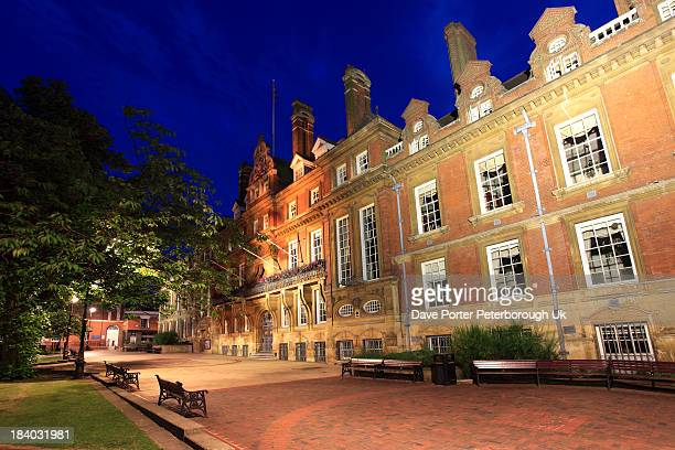 Town hall building at night Leicester