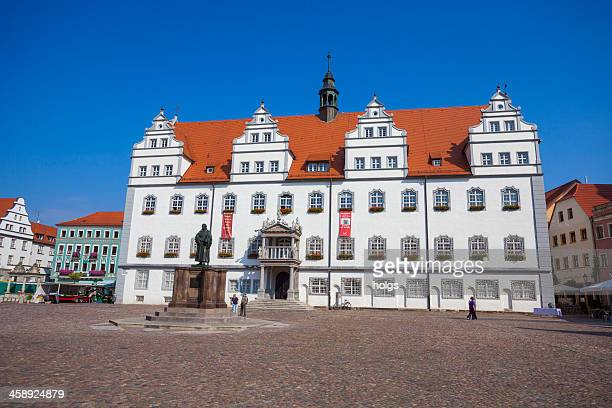 town hall building, lutherstadt wittenberg - lutherstadt wittenberg stock pictures, royalty-free photos & images