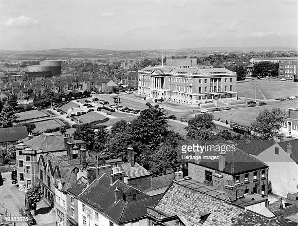 Town Hall, Chesterfield, Derbyshire, 1960s. View across New Square buildings to Shentall Gardens and the Town Hall.