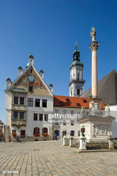 town hall, city parish church st. georg, marian column, marienplatz, freising, upper bavaria, bavaria, germany - new town hall munich stock pictures, royalty-free photos & images
