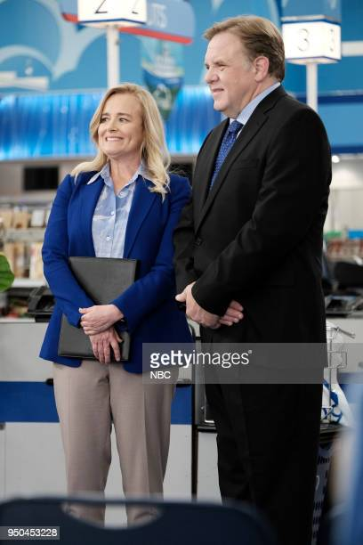 SUPERSTORE Town Hall Episode 322 Pictured Jennifer Irwin as Laurie Brian Howe as Neil Penderson