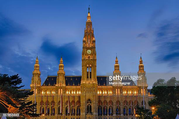 Town Hall (Gothic building at night from Vienna.