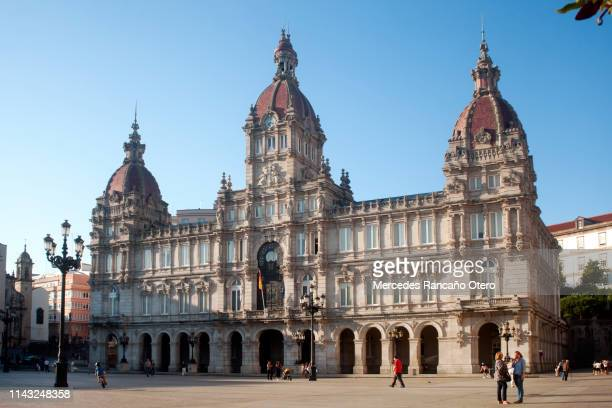 town hall in a coruña, galicia, spain - a coruna stock pictures, royalty-free photos & images