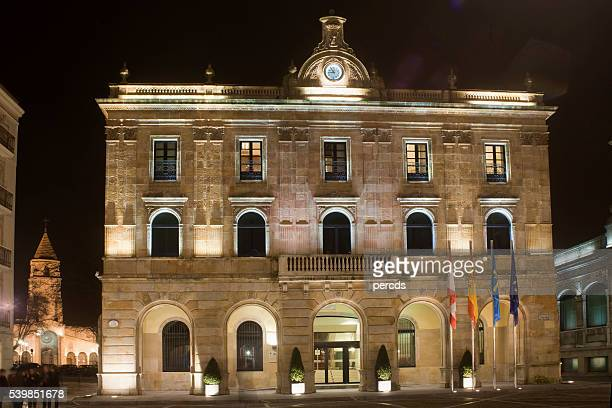 Town hall in Gijón, Asturias, Spain by night.