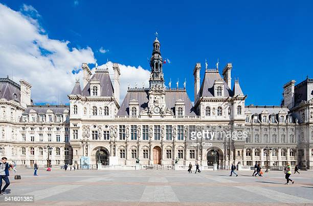 town hall in paris, france - town hall stock pictures, royalty-free photos & images