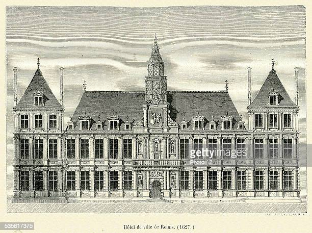 Town Hall in Reims 19th Century engraving