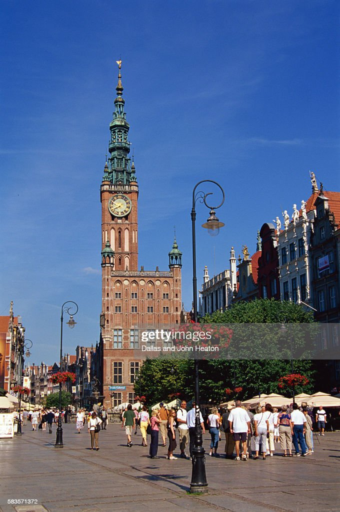 Town Hall, Long Market, Burger Houses, Old Town, Gdansk, Poland : Stock Photo