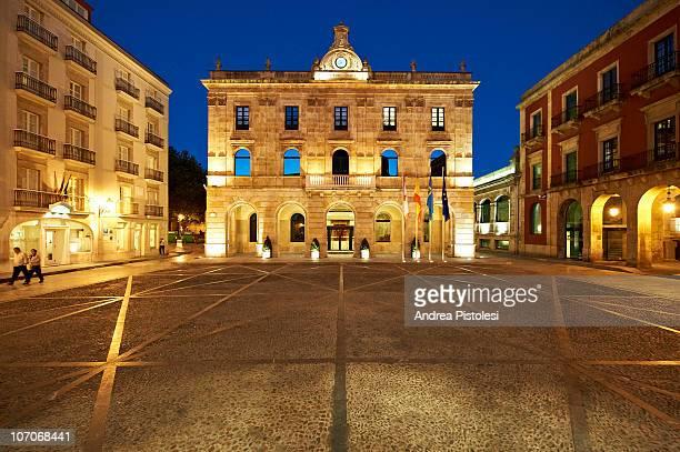 town hall of gijon, spain - ヒホン ストックフォトと画像