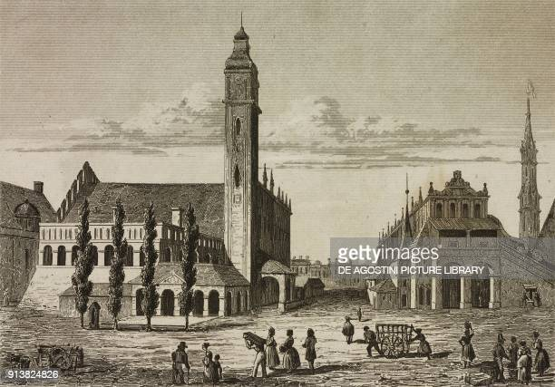 Town Hall of Krakow Poland engraving by Lemaitre and Challamel from Pologne by Charles Foster L'Univers pittoresque Europe published by Firmin Didot...