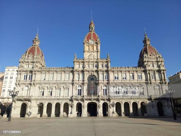 town hall of la coruña - a coruna stock pictures, royalty-free photos & images