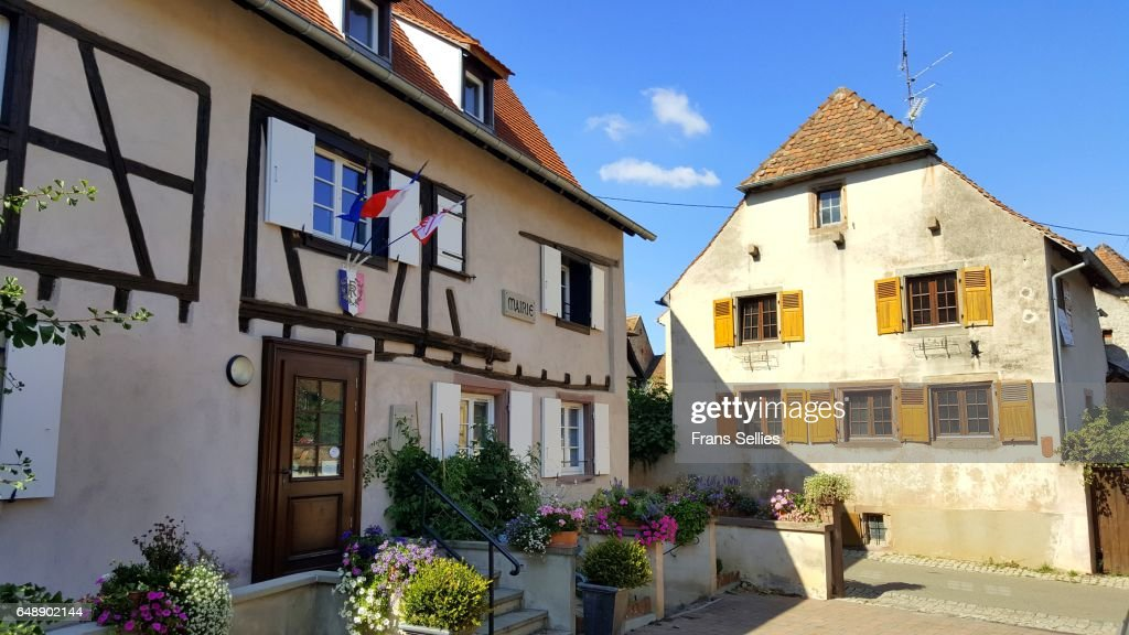 Town hall of Mittelbergheim, Alsace, France : Stock Photo