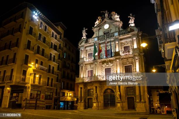 town hall of pamplona - pamplona stock photos and pictures