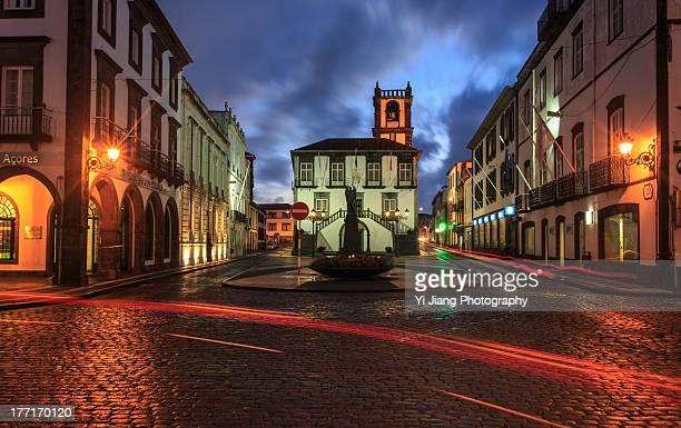 town hall of ponta delgala - ponta delgada stock photos and pictures