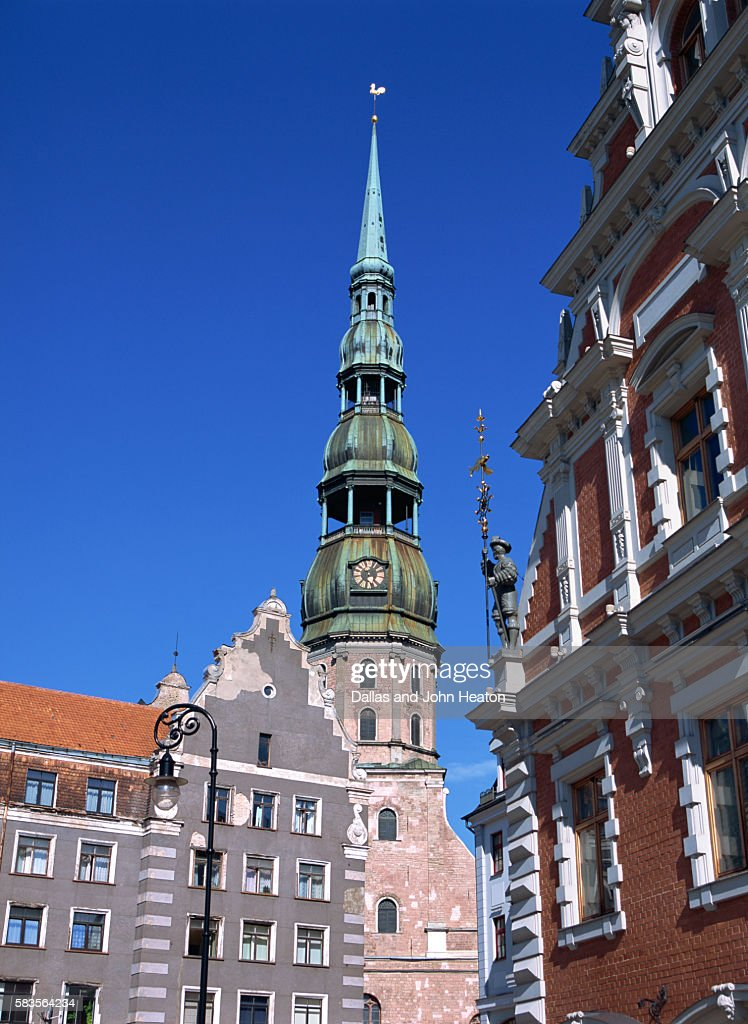 Town Hall Square, Blackheads House, St. Peter's Church, Riga, Latvia : Stock Photo