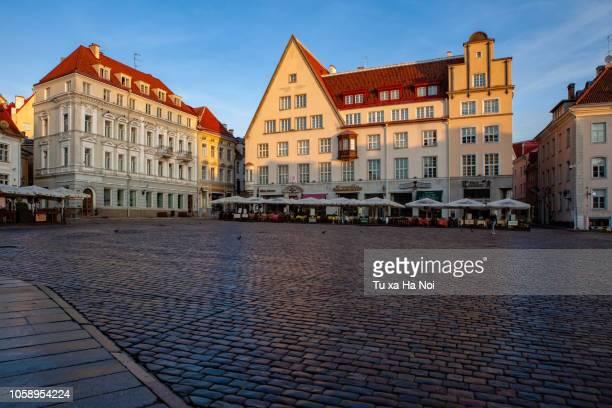 town hall square of tallinn, estonia - tallinn stock-fotos und bilder