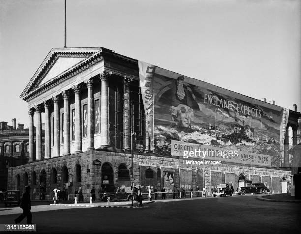 Town Hall, Victoria Square, Birmingham, 1941. A view showing Birmingham Town Hall, draped with a large banner encouraging people to donate to Warship...