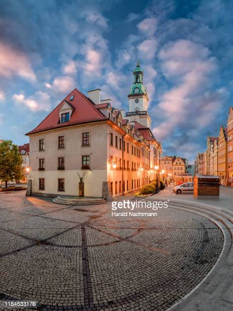town hall with seven houses in the evening, jelenia gora, lower silesian, poland - silesia stock pictures, royalty-free photos & images