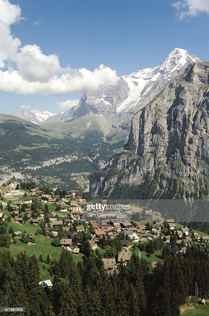 Town in a Mountain Valley : Stock Photo