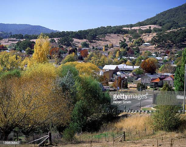 Town in country Autumn landscape, Tumbarumba, New South Wales
