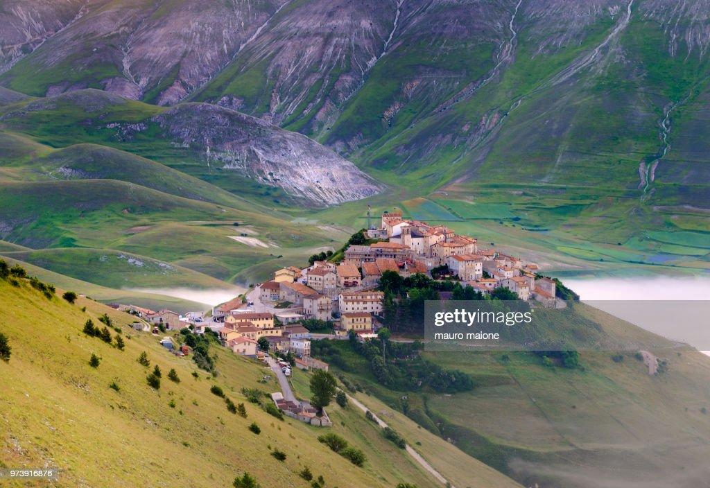 Town in mountains, Norcia, Castelluccio, Umbria, Italy : Stock Photo
