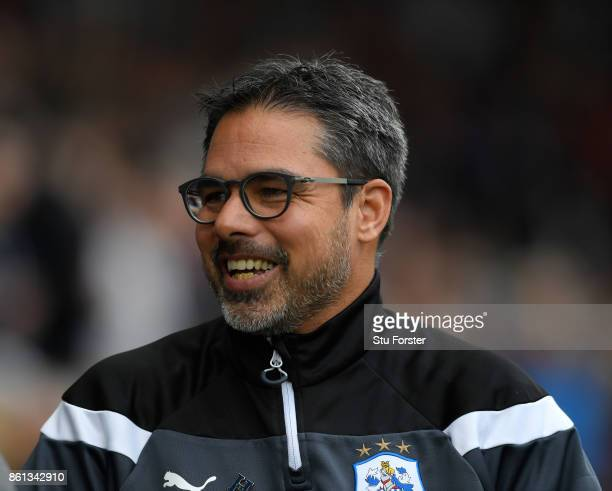 Town manager David Wagner smiles before the Premier League match between Swansea City and Huddersfield Town at Liberty Stadium on October 14 2017 in...