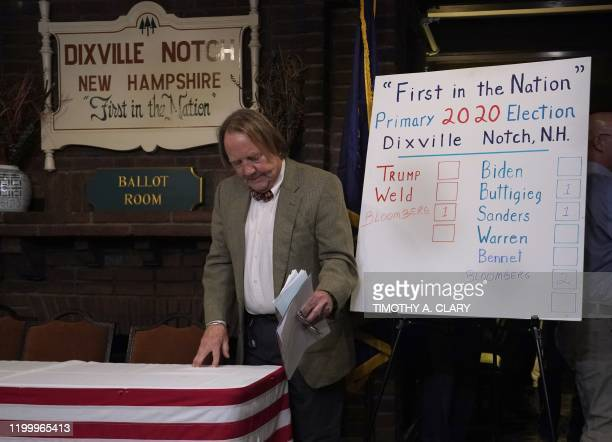Town moderator Tom Tillotson walks past the results board after midnight voting at the Hale House at the legendary Balsams Resort in the New...