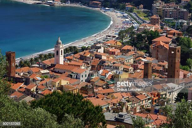 town noli, ligurian coast, italy - liguria stock photos and pictures