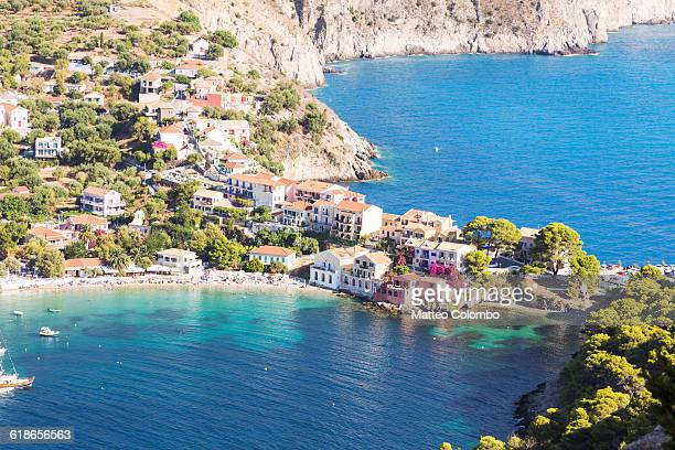 town of assos with colorful houses in summer - cultura mediterrânica imagens e fotografias de stock