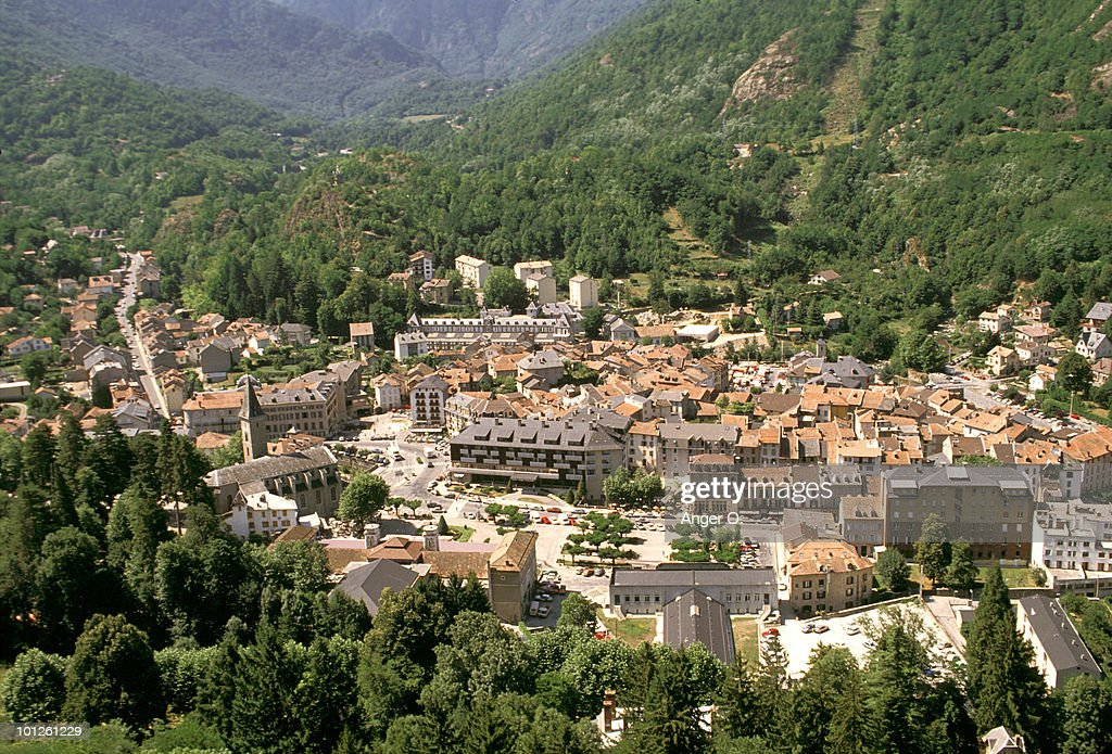 Town of Ax les Thermes in Ariege, France : ストックフォト