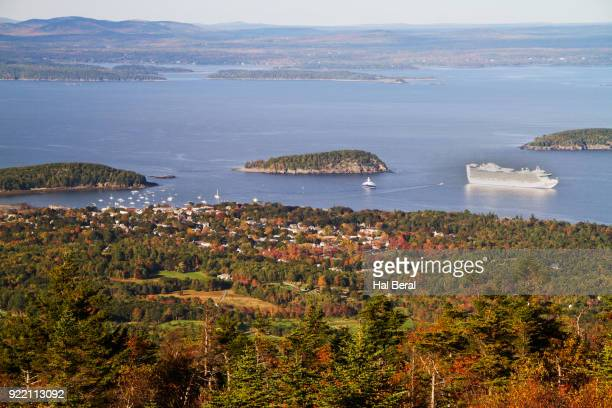 town of bar harbor and penabscot bay - bar harbor stock photos and pictures