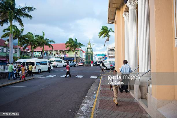 town of basseterre in saint kitts and nevis - st. kitts stock photos and pictures